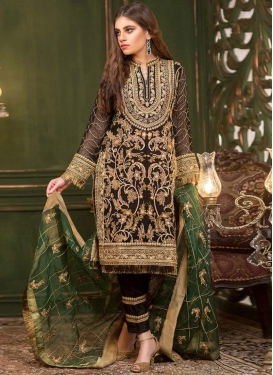 Faux Georgette Embroidered Work Pant Style Classic Suit