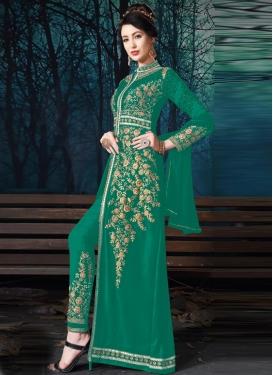 Faux Georgette Embroidered Work Pant Style Designer Salwar Kameez