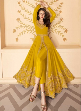 Faux Georgette Embroidered Work Pant Style Designer Salwar Suit