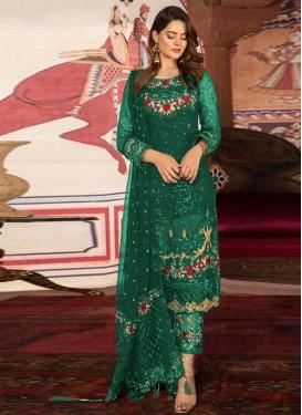 Faux Georgette Embroidered Work Pant Style Pakistani Salwar Kameez