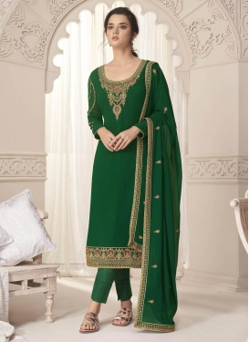 Faux Georgette Embroidered Work Pant Style Pakistani Salwar Suit