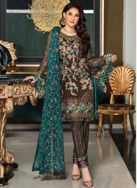 Faux Georgette Embroidered Work Pant Style Pakistani Suit