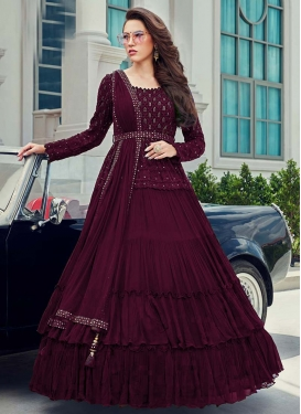 Faux Georgette Embroidered Work Readymade Designer Gown