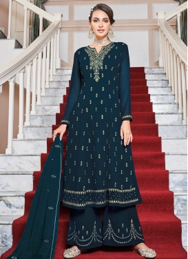 Faux Georgette Embroidered Work Readymade Designer Suit
