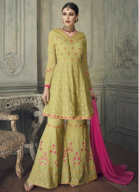 Faux Georgette Embroidered Work Sharara Salwar Kameez