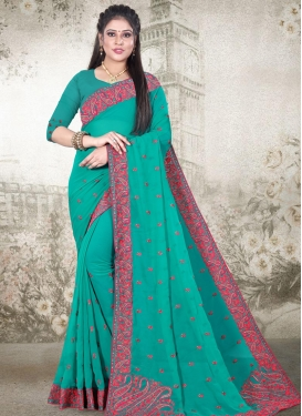 Faux Georgette Embroidered Work Traditional Designer Saree
