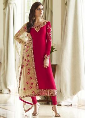 Faux Georgette Embroidered Work Trendy Churidar Salwar Kameez