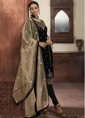 Faux Georgette Embroidered Work Trendy Churidar Salwar Kameez