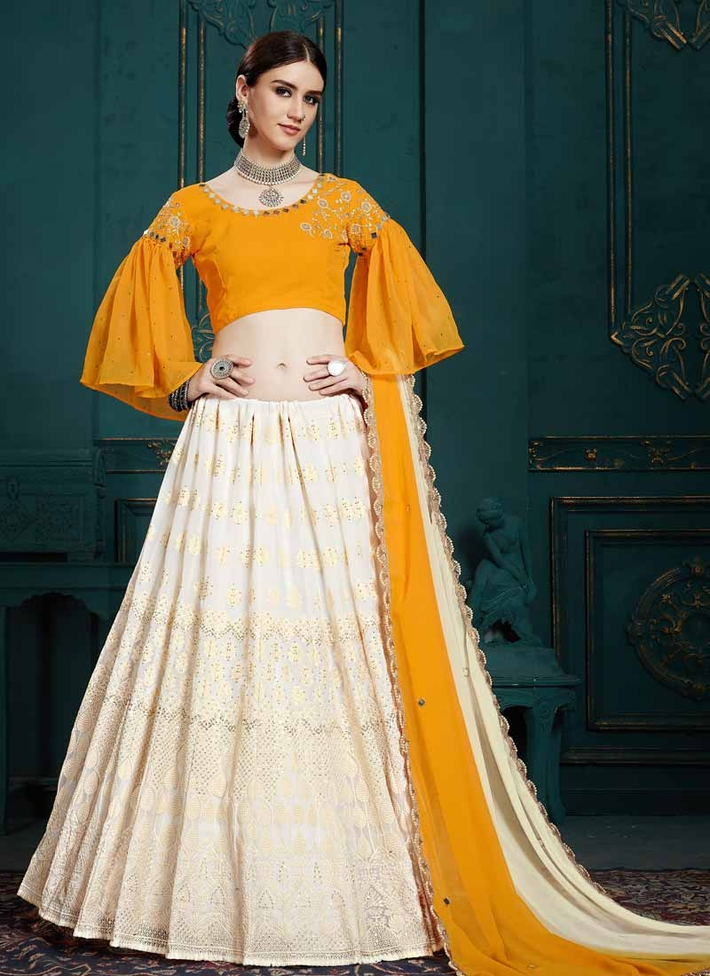 Faux Georgette Embroidered Work Trendy Lehenga