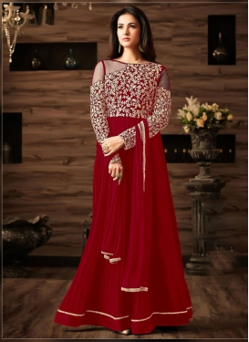 Faux Georgette Embroidered Work Trendy Salwar Kameez