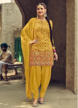 Faux Georgette Embroidered Work Trendy Salwar Kameez