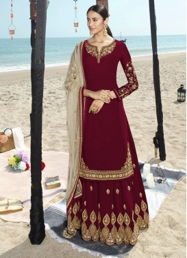 Faux Georgette Embroidered Work Trendy Straight Salwar Suit