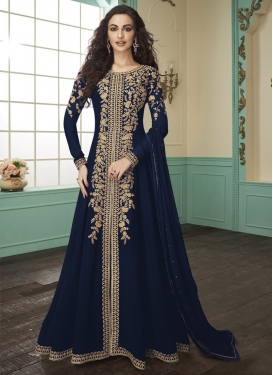 Faux Georgette Floor Length Designer Salwar Suit For Ceremonial