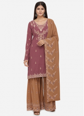 Faux Georgette Gold and Hot Pink Embroidered Work Sharara Salwar Kameez