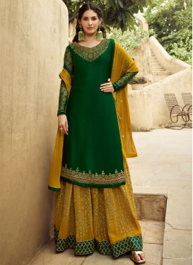 Faux Georgette Green and Mustard Embroidered Work Palazzo Style Pakistani Salwar Kameez