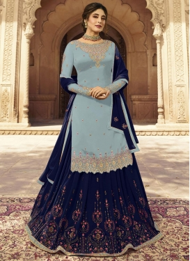 Faux Georgette Grey and Navy Blue Embroidered Work Designer Kameez Style Lehenga