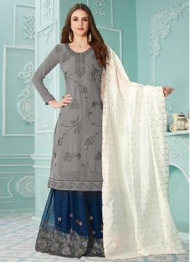 Faux Georgette Grey and Navy Blue Palazzo Style Pakistani Salwar Kameez