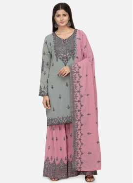 Faux Georgette Grey and Pink Embroidered Work Sharara Salwar Suit