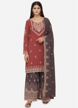 Faux Georgette Grey and Red Embroidered Work Sharara Salwar Kameez