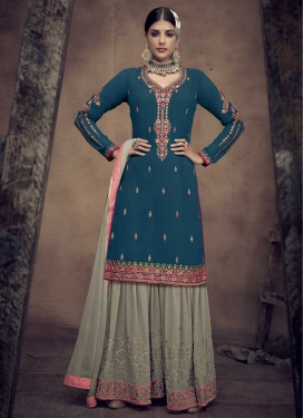 Faux Georgette Grey and Teal Sharara Salwar Suit