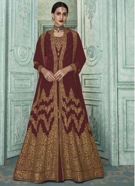 Faux Georgette Jacket Style Long Length Suit