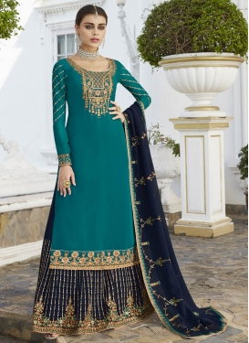 Faux Georgette Kameez Style Lehenga Choli For Ceremonial