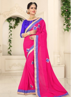Faux Georgette Lace Work Blue and Rose Pink Traditional Saree