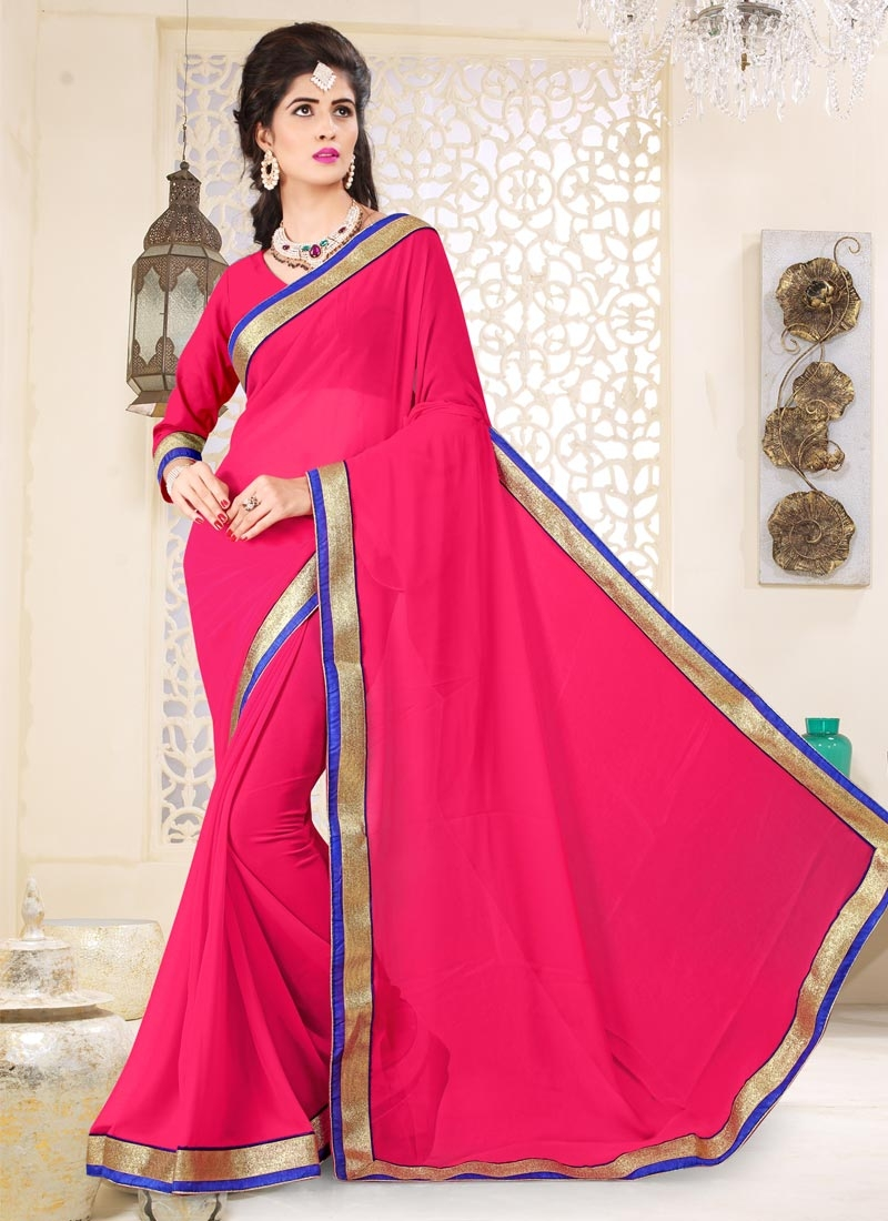 Faux Georgette Lace Work Contemporary Style Saree