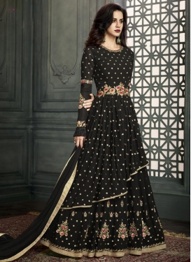 Faux Georgette Layered Designer Suit For Ceremonial