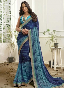 Faux Georgette Light Blue and Navy Blue Contemporary Style Saree For Ceremonial