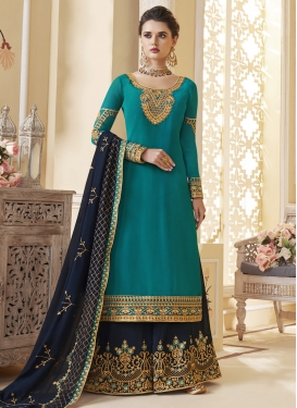 Faux Georgette Light Blue and Navy Blue Embroidered Work Palazzo Style Pakistani Salwar Kameez