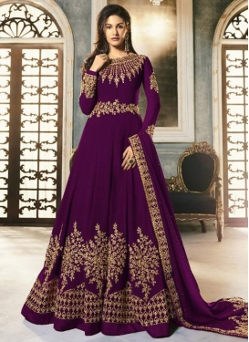 Faux Georgette Long Length Designer Anarkali Suit For Ceremonial