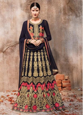 Faux Georgette Long Length Designer Anarkali Suit For Festival