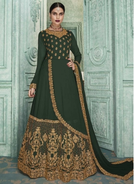Faux Georgette Long Length Layered Salwar Suit
