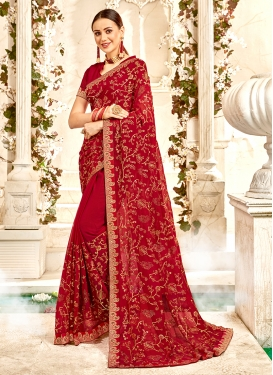Faux Georgette Maroon Classic Saree