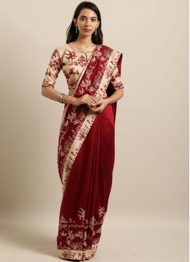 Faux Georgette Maroon Saree