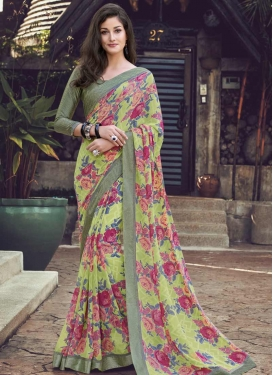 Faux Georgette Mint Green and Olive Traditional Designer Saree