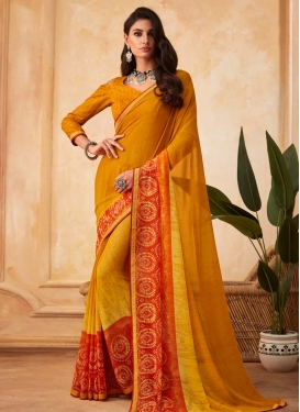 Faux Georgette Mustard and Orange Traditional Designer Saree For Casual
