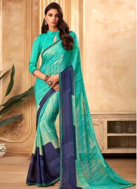 Faux Georgette Navy Blue and Turquoise Digital Print Work Designer Traditional Saree