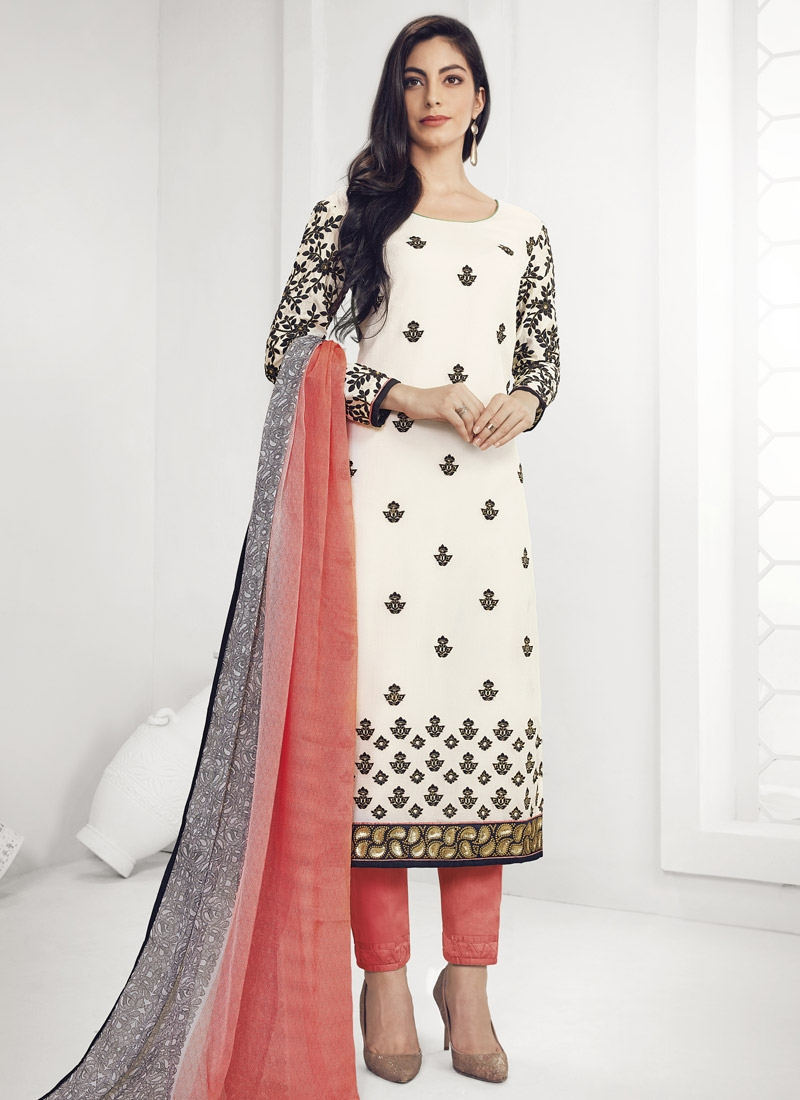 Faux Georgette Off White and Peach Embroidered Work Pant Style Pakistani Salwar Kameez