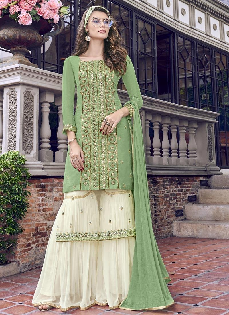 Faux Georgette Off White and Sea Green Sharara Salwar Kameez
