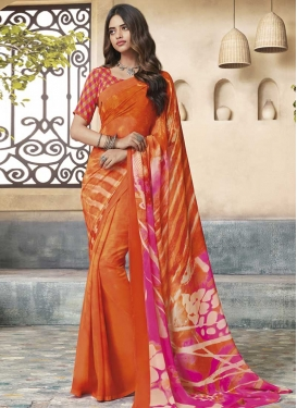 Faux Georgette Orange and Rose Pink Traditional Saree
