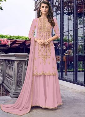 Faux Georgette Palazzo Designer Salwar Suit For Ceremonial