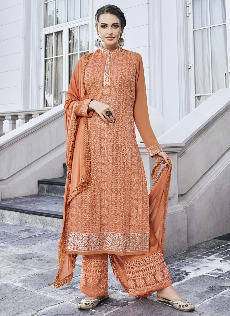 Faux Georgette Palazzo Style Pakistani Salwar Kameez
