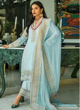 Faux Georgette Palazzo Style Pakistani Salwar Kameez For Ceremonial