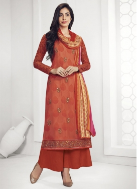 Faux Georgette Palazzo Style Pakistani Salwar Kameez For Festival