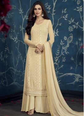 Faux Georgette Palazzo Style Pakistani Salwar Suit For Festival