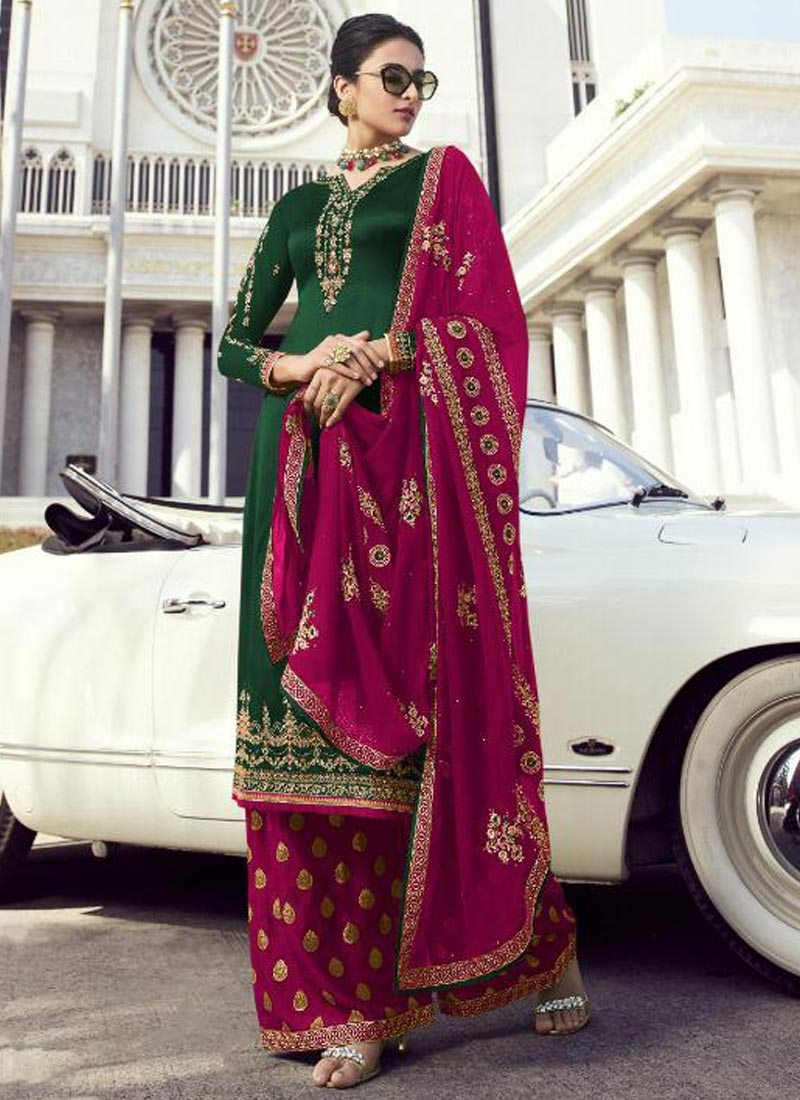 Faux Georgette Palazzo Style Pakistani Salwar Suit For Festival