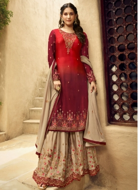 Faux Georgette Palazzo Style Pakistani Salwar Suit For Party