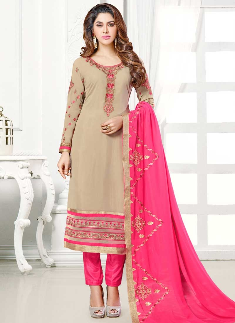 Faux Georgette Pant Style Classic Salwar Suit For Ceremonial